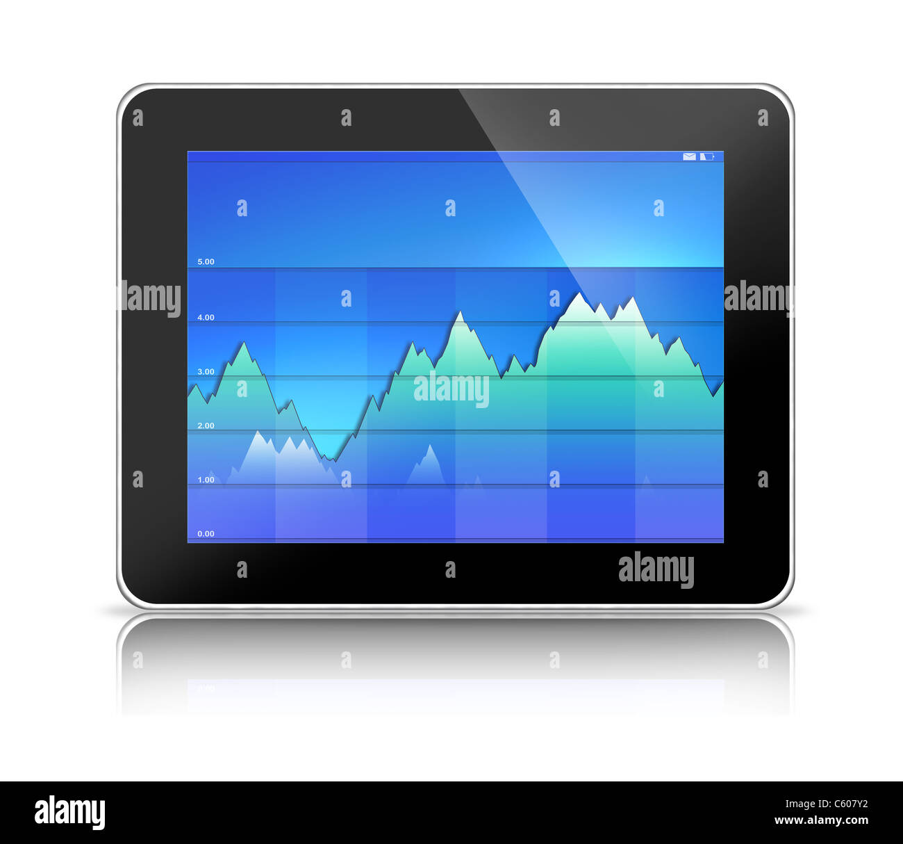 Tablet PC Computer with Blue Graph - Stock Image