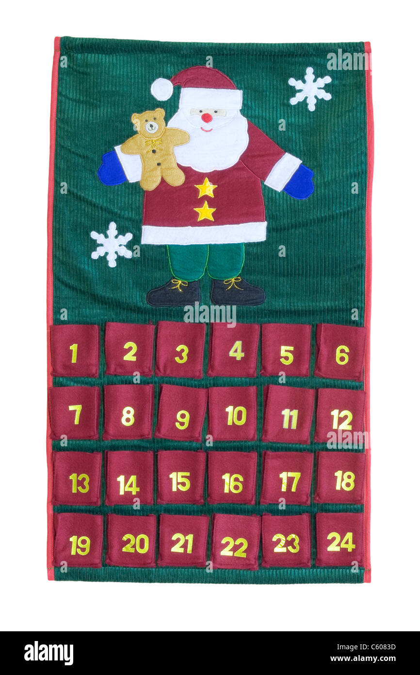 Traditional Advent calendar isolated on white background - Stock Image