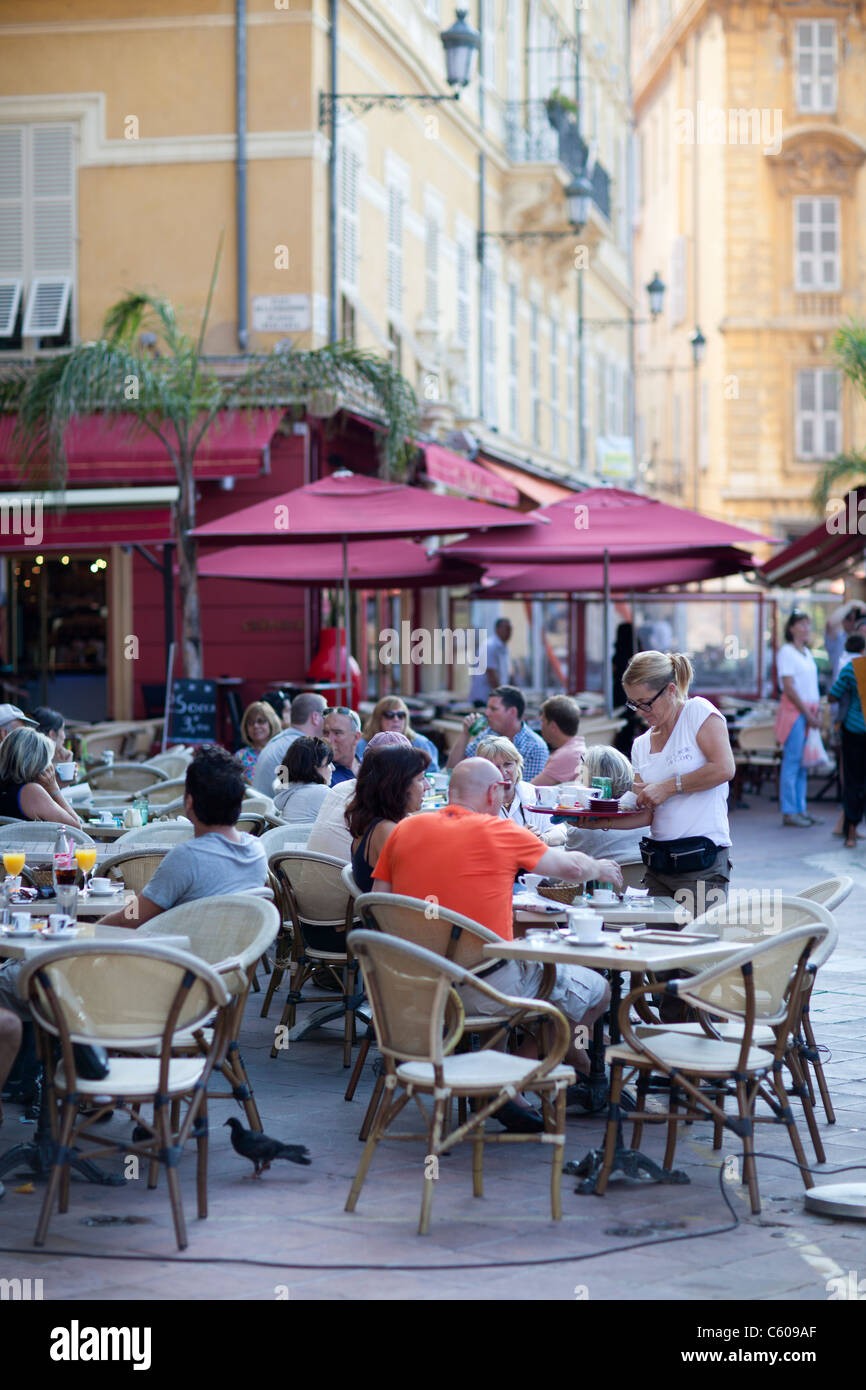 cafe market, Cours Saleya, Nice, France - Stock Image