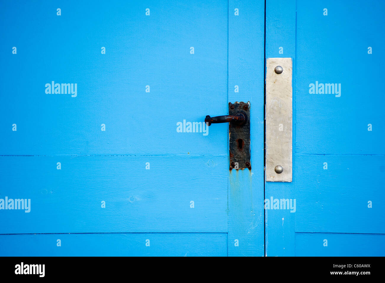 Bright blue beach hut door close up - Stock Image & Shut Door Stock Photos u0026 Shut Door Stock Images - Alamy