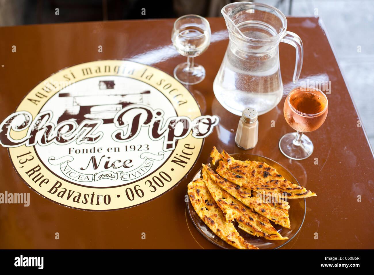 Chez Pipo, Socca, restaurant, cafe, Nice, France - Stock Image