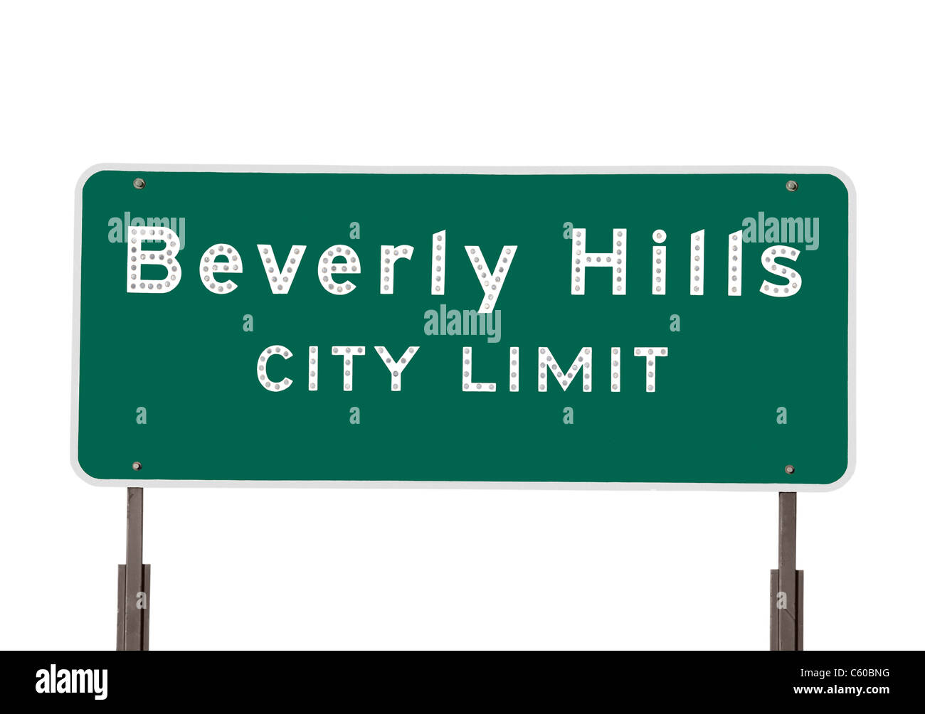 Beverly Hills city limits sign isolated on white. - Stock Image