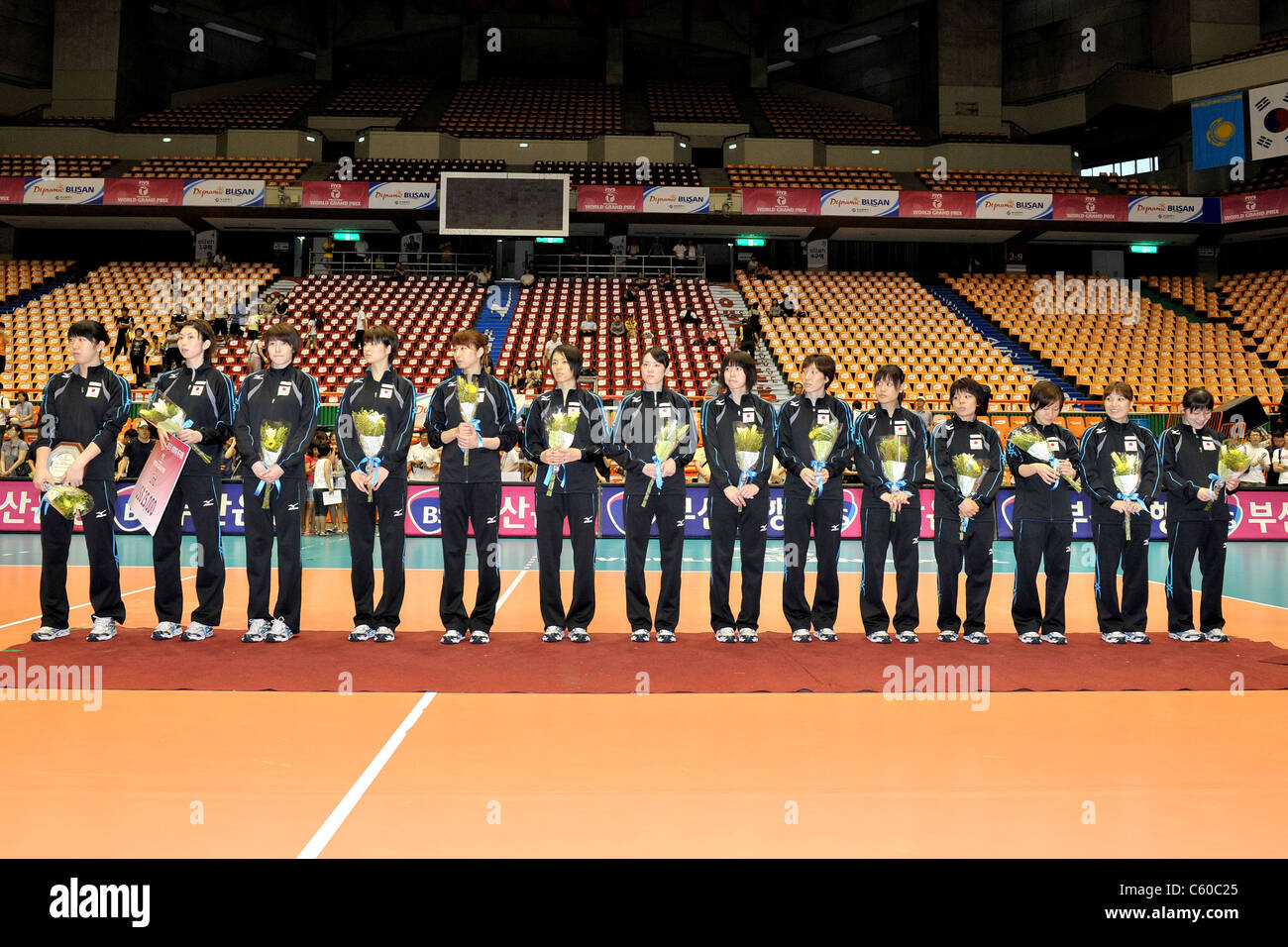 volleyball japan team players standing on the podium during the