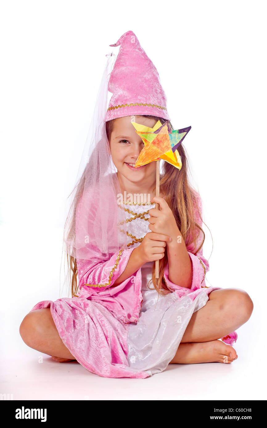 eight year old girl in a costume dressed as a fairy - Stock Image