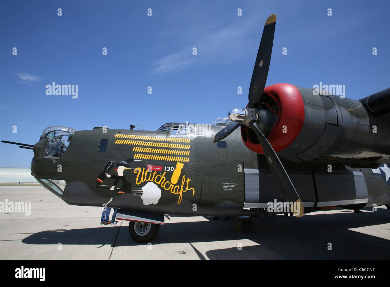 The last airworthy Consolidated B-24J Liberator 'Witchcraft'  honors World War II veterans Friday, Dec. - Stock Image