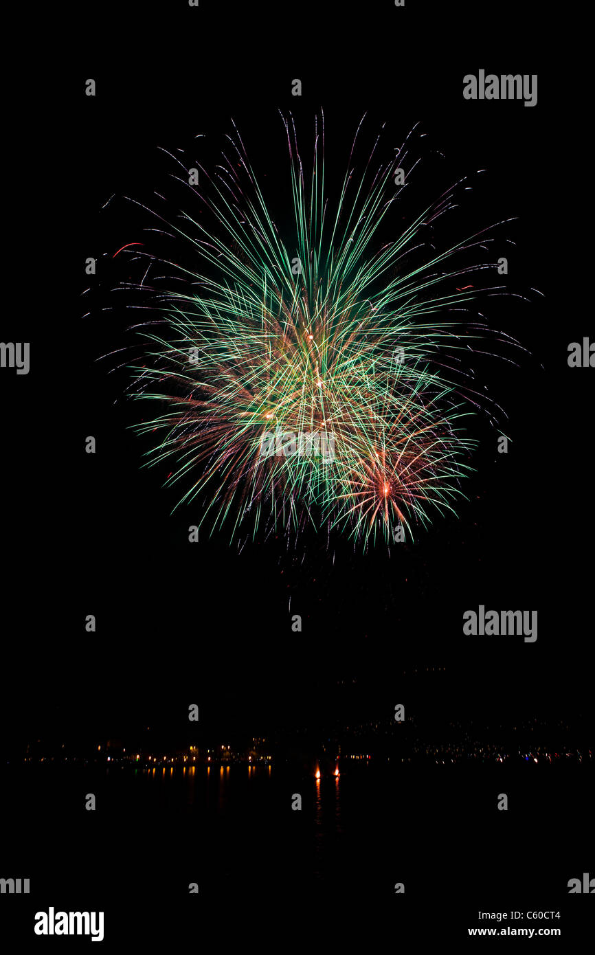Fireworks in the night sky - Stock Image