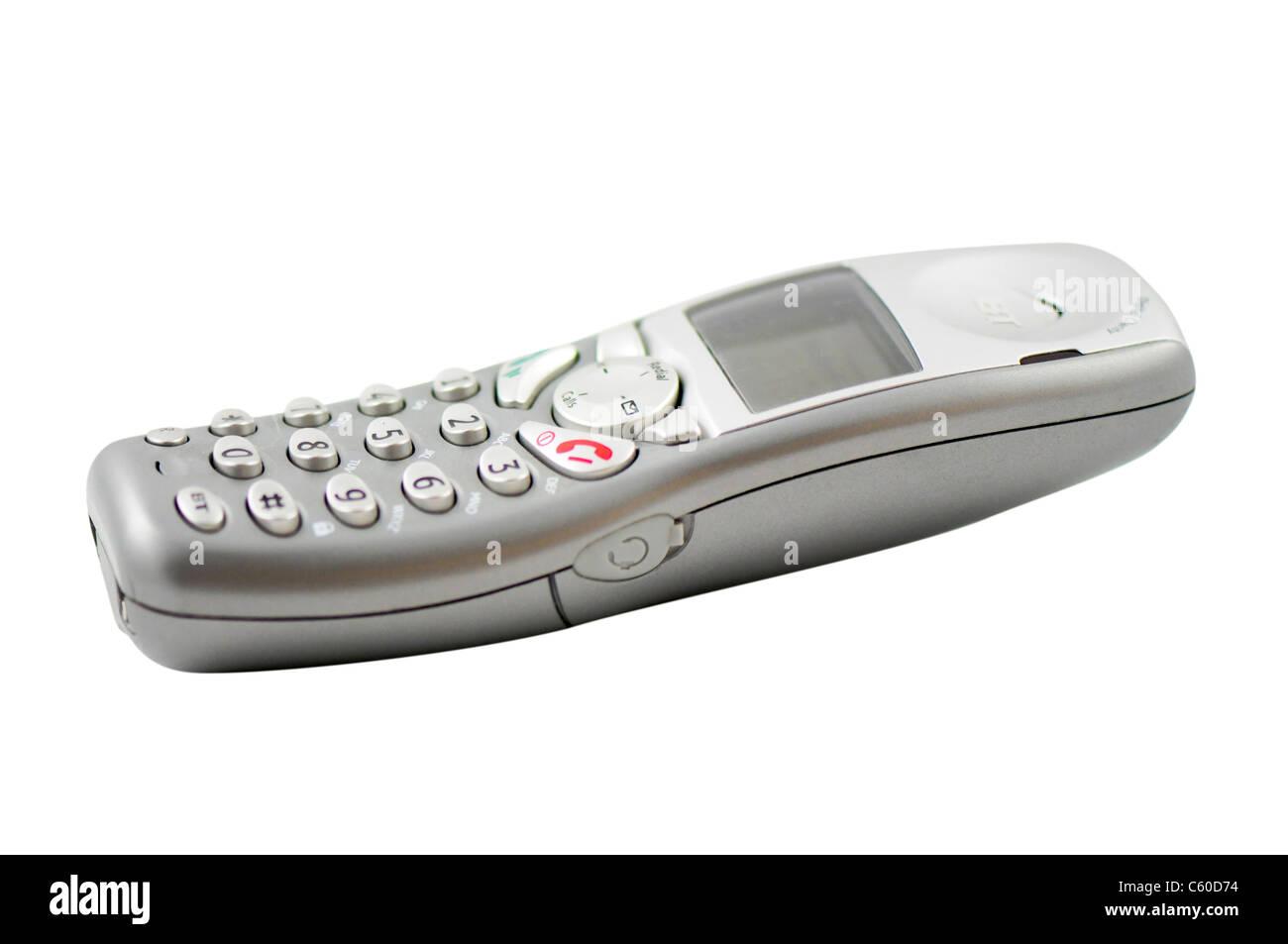 Cordless phone isolated on white background - Stock Image