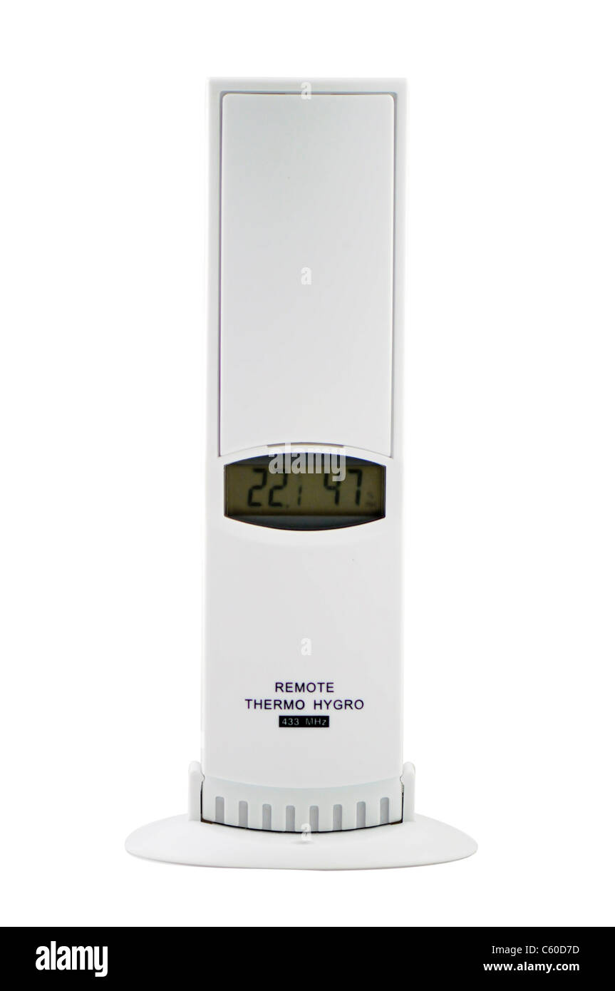 Thermo hrgro sensor remote used for measuring Temperature and Humidity - Stock Image