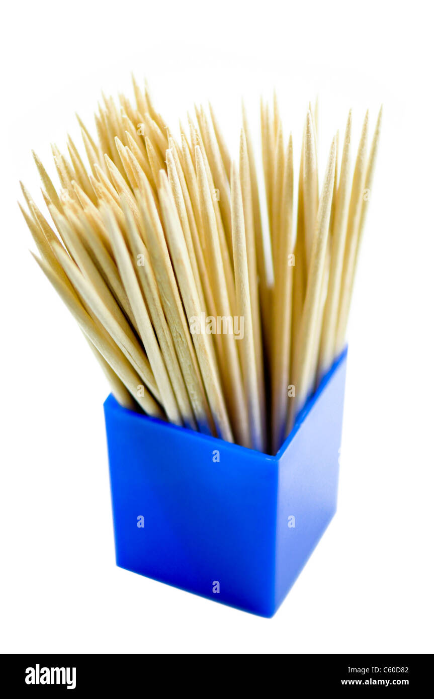Wooden Toothpicks on white background - Stock Image