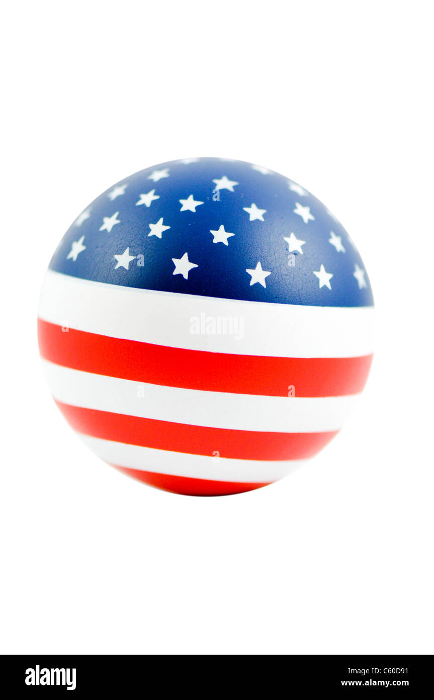 United States of America flag on a ball on white background - Stock Image