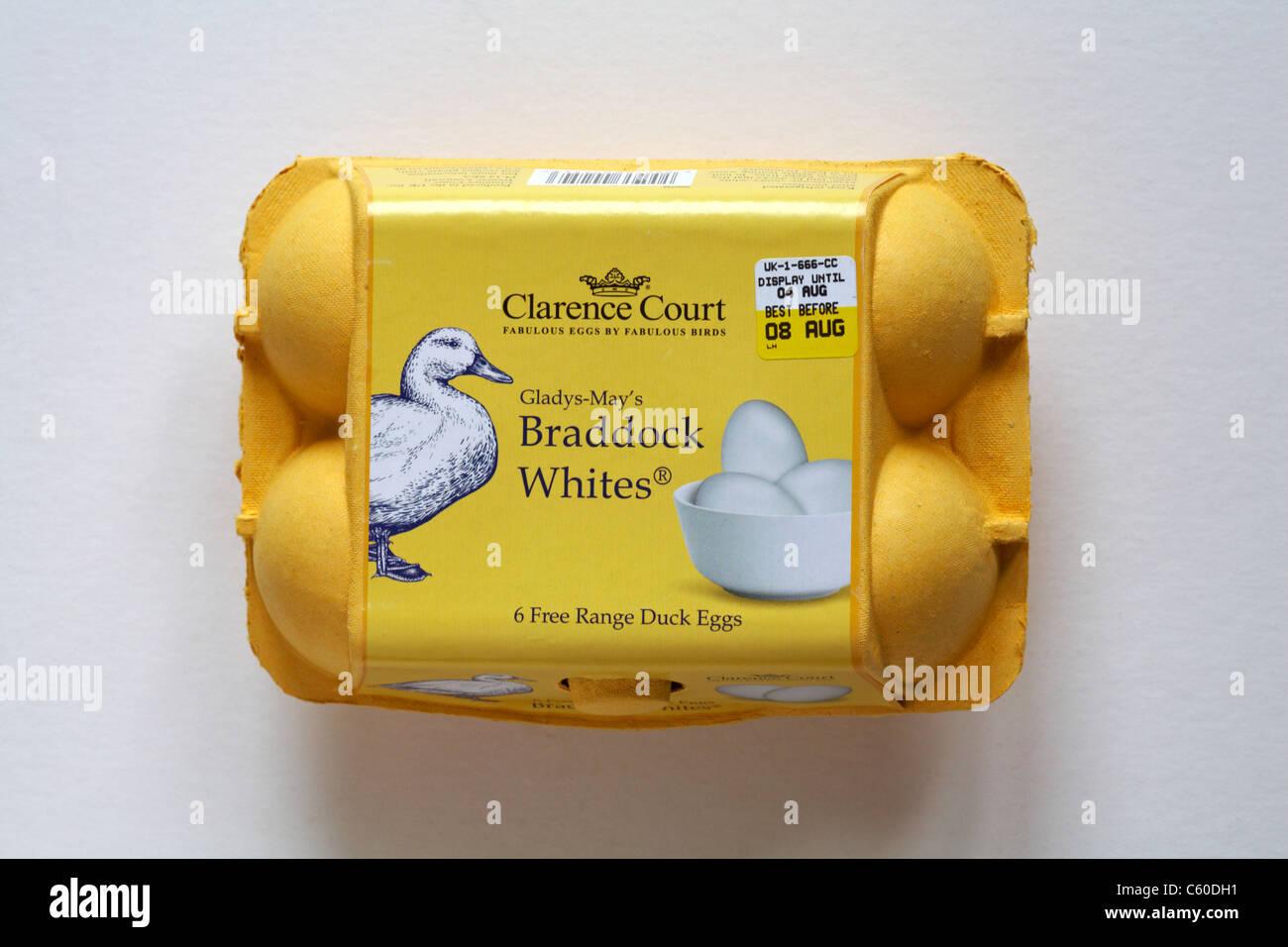 Carton of Clarence Court Gladys-Mays Braddock Whites 6 free range duck eggs isolated on white background - egg box - Stock Image