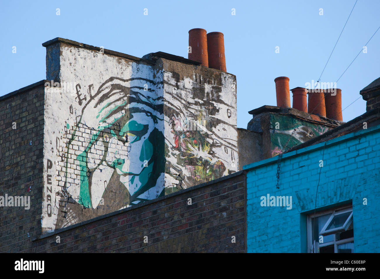 Colourfully decorated roof in Camden High Street in the Camden Market area, London - Stock Image
