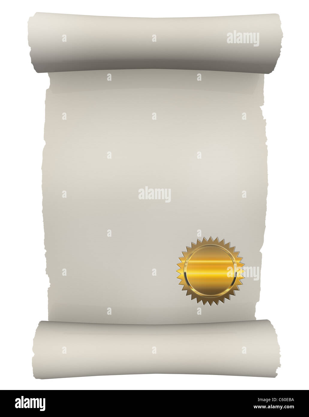 Certificate Scroll with golden seal - Stock Image