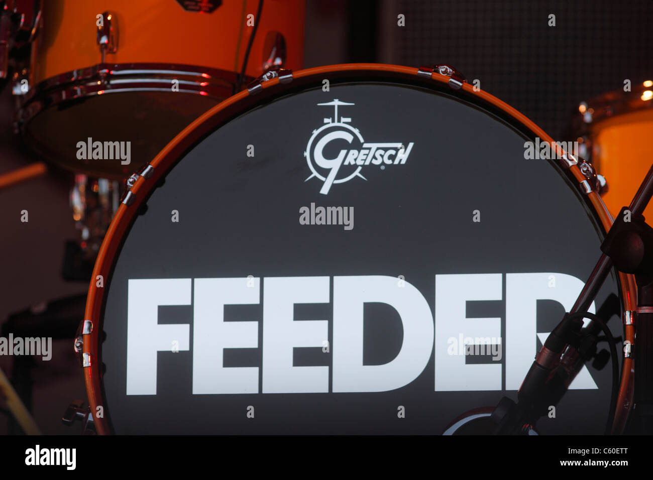 Feeder at the Splendour Festival. Feeder's are now vocalist and guitarist Grant Nicholas, and bass player Taka - Stock Image