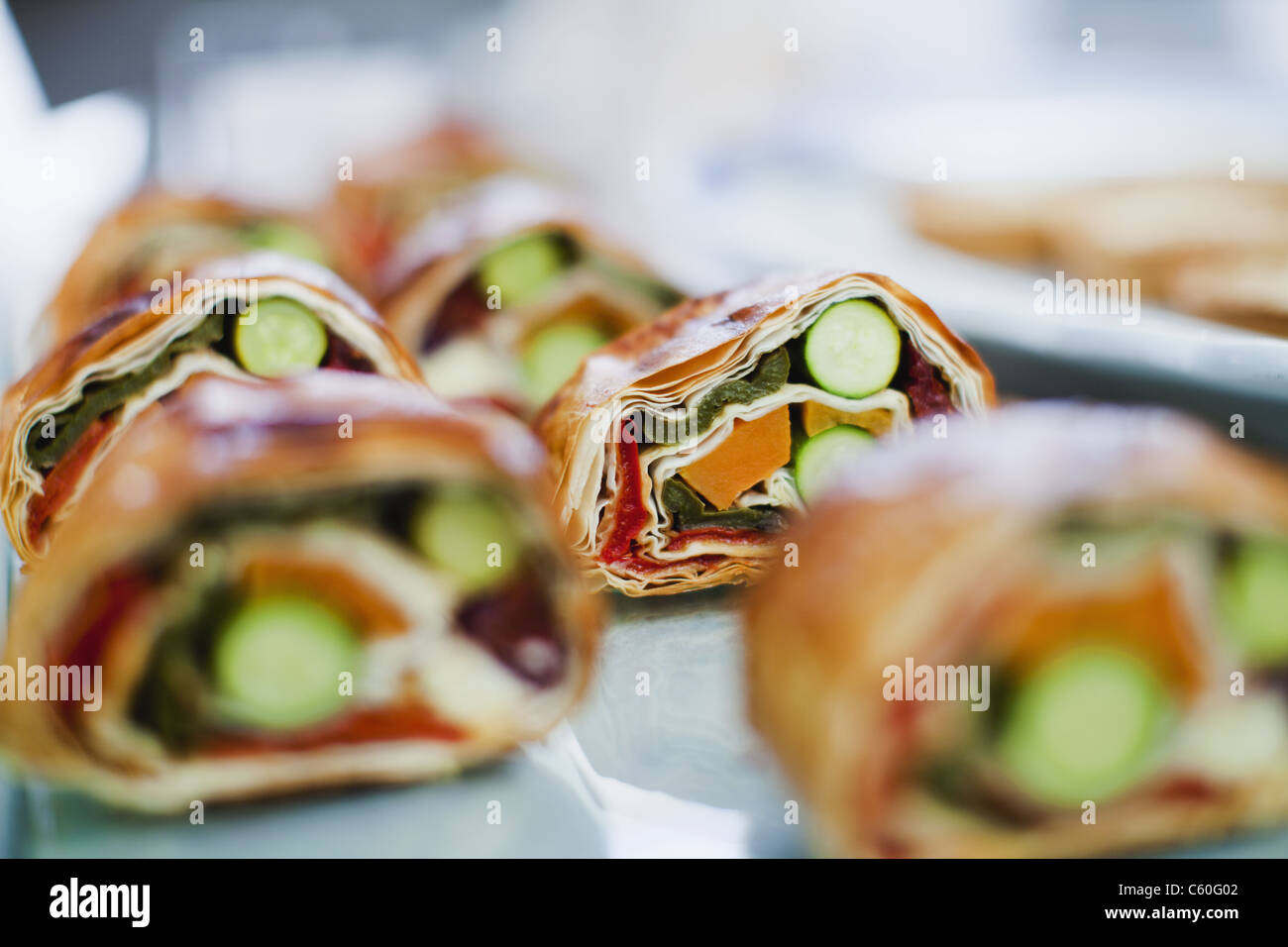 Close up of sandwich rolls for sale - Stock Image