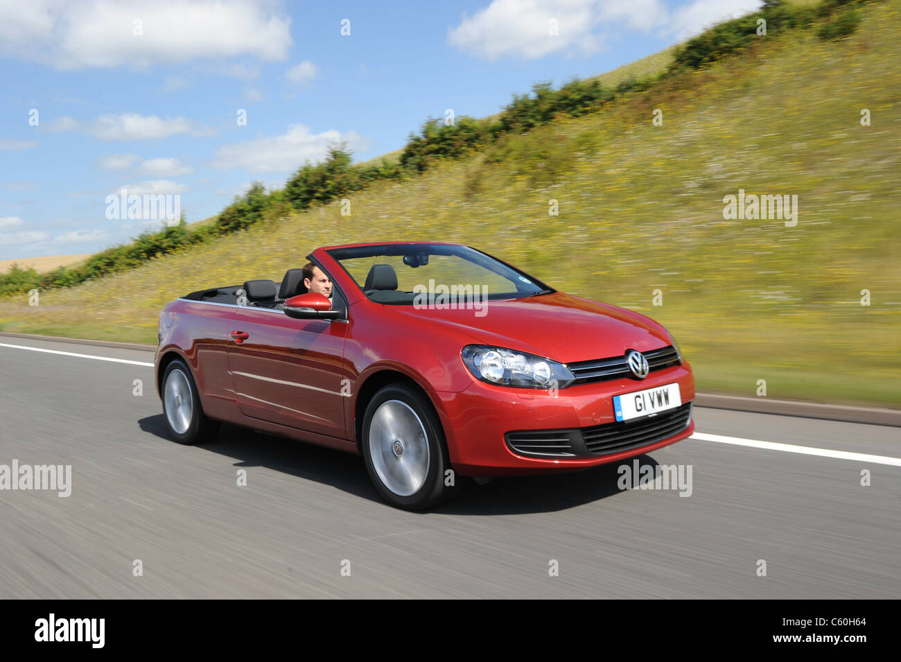 the new 2011 Volkswagen Golf Cabriolet TDI bluemotion - Stock Image