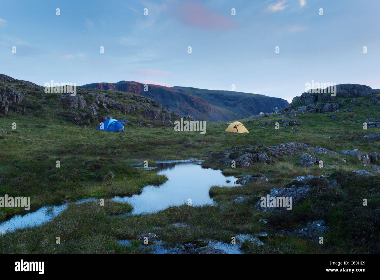 Wild Camping on Great Round How. Lake District National Park. Cumbria. England. UK. - Stock Image