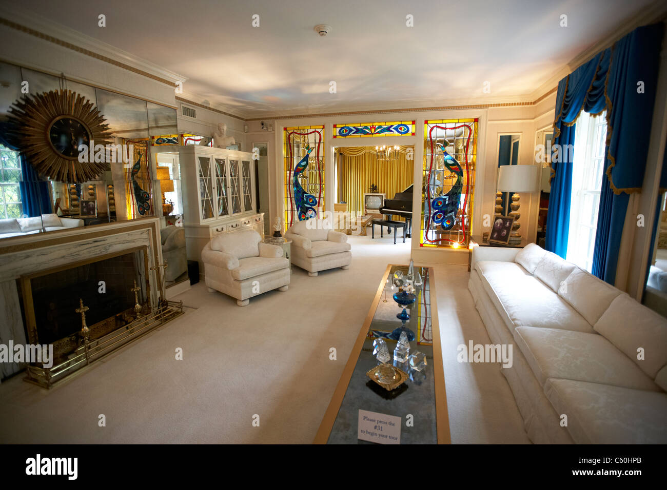 Living Room And Music Room At Graceland Mansion Memphis Tennessee Usa