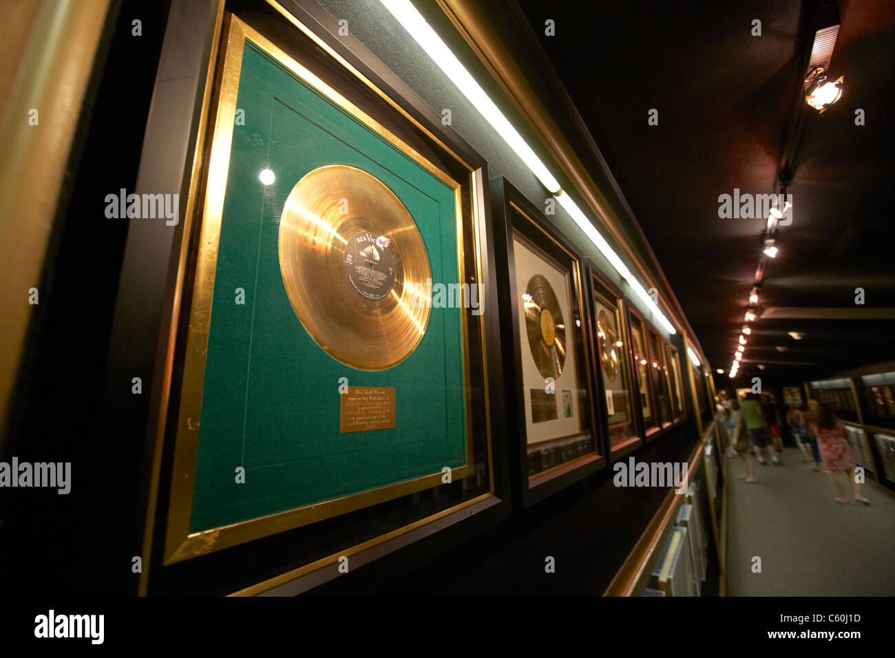 tourists visit hall of gold records graceland mansion memphis tennessee usa - Stock Image