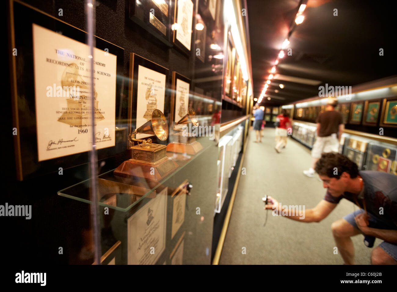 grammy nomination and tourists visit the trophy room graceland mansion memphis tennessee usa - Stock Image