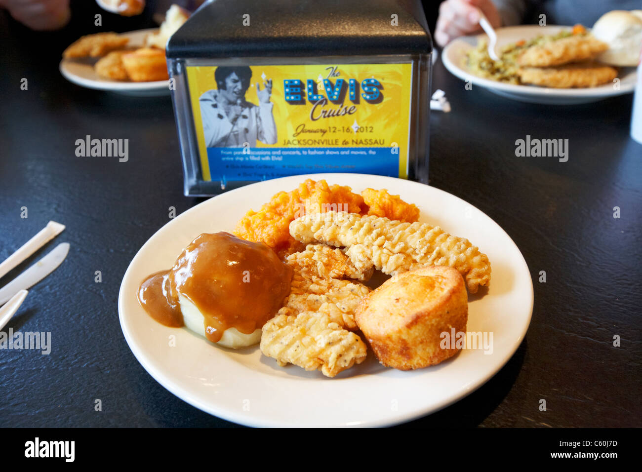 fried chicken potatoes gravy biscuit in restaurant at graceland memphis tennessee usa - Stock Image