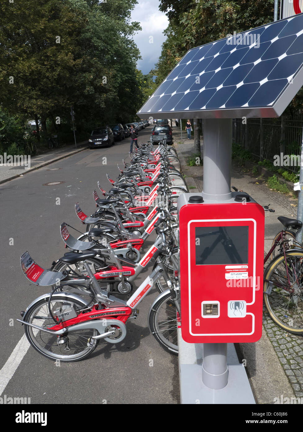 New solar powered hire station for Call-a-bike cycle rental service in Berlin Germany - Stock Image