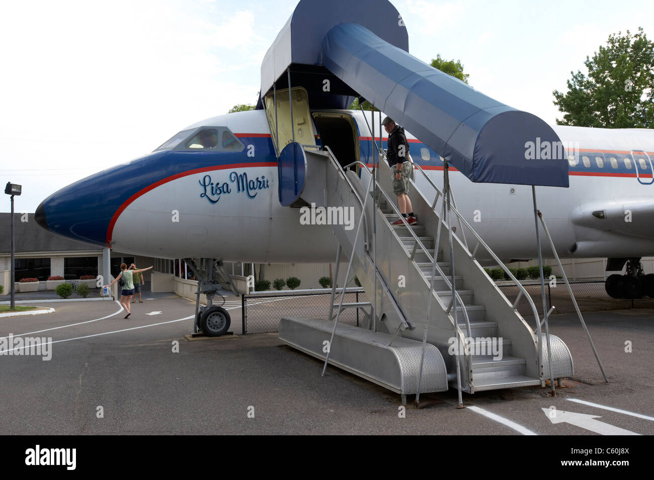 tourist boarding elvis's lisa marie aircraft at graceland memphis tennessee usa - Stock Image