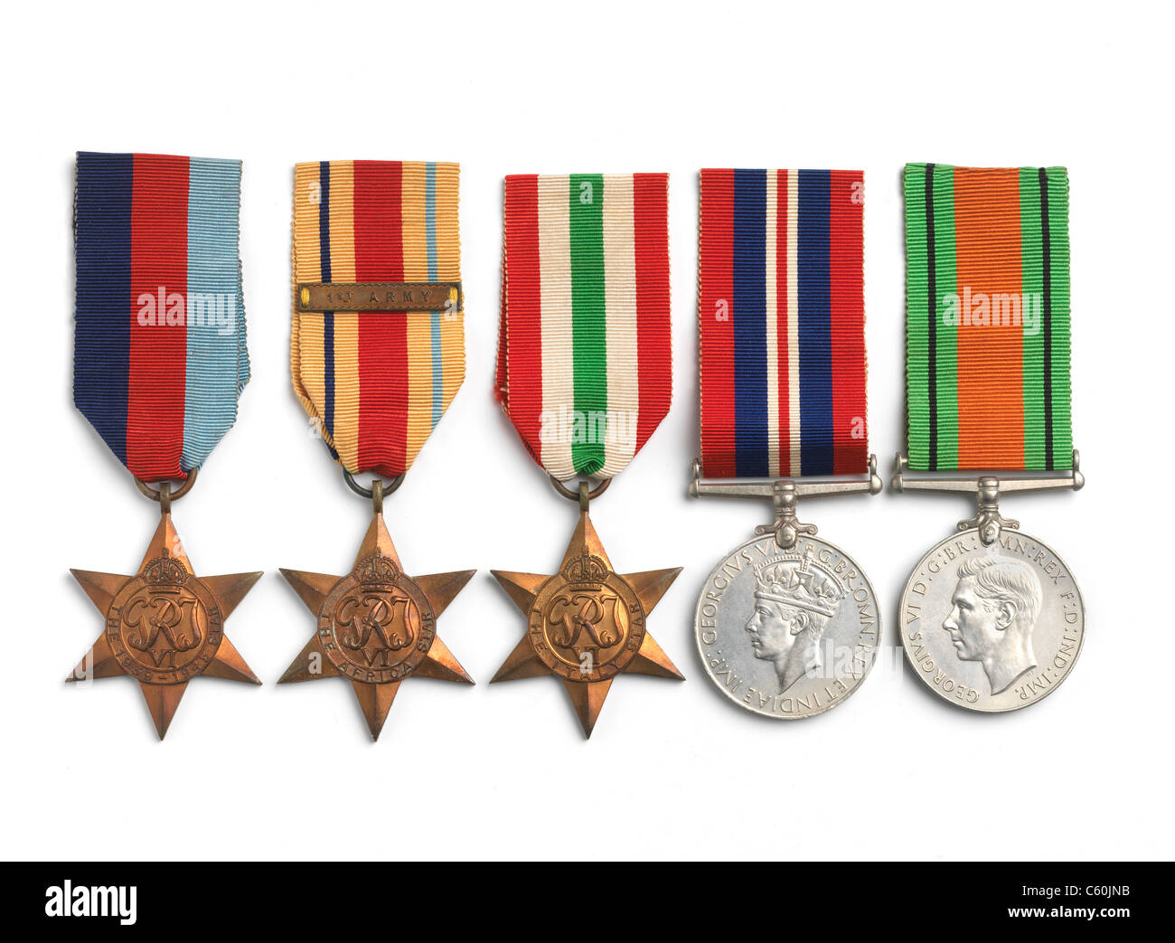 British and Commonwealth campaign medals from WW2 on white - Stock Image