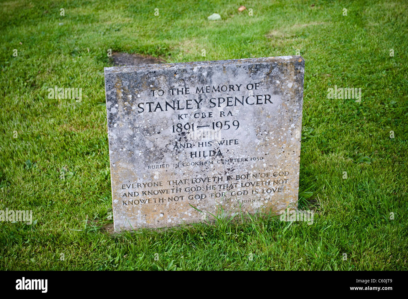 Gravestone of Stanley Spencer, Cookham, Berkshire, England, UK - Stock Image