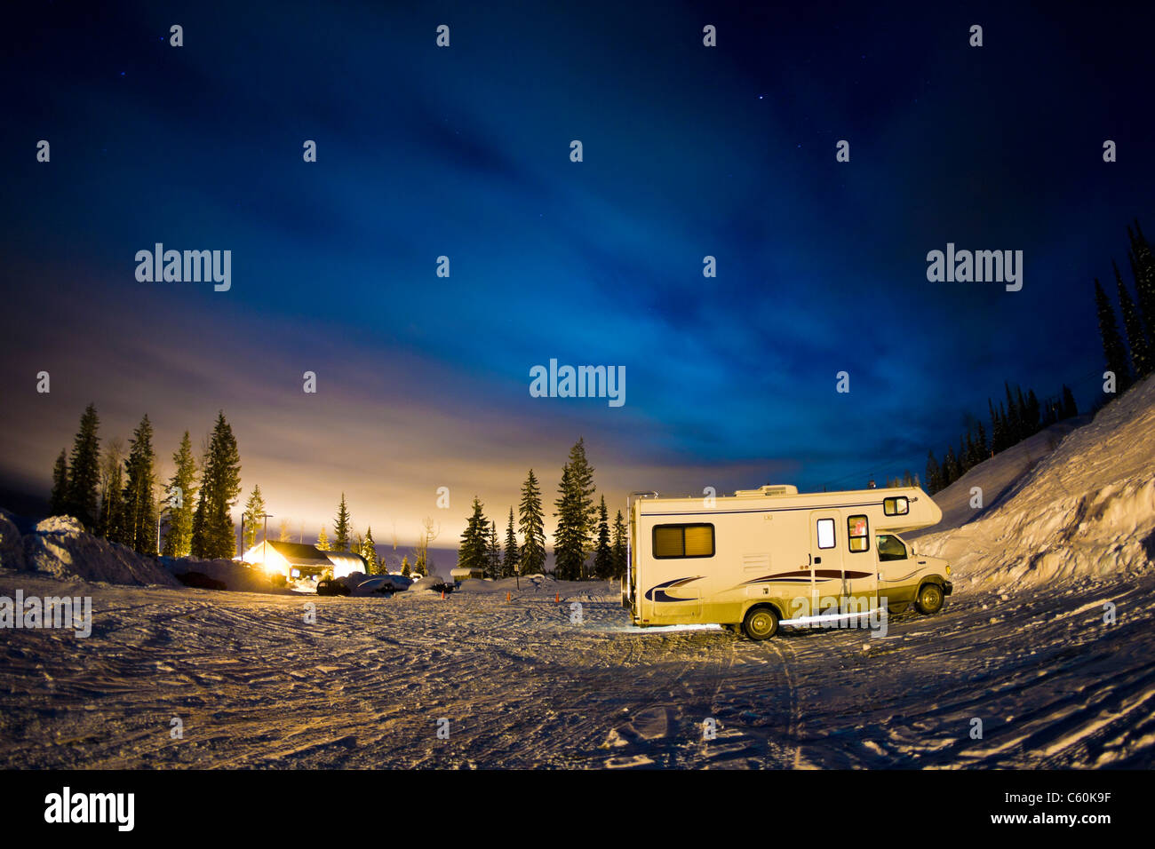 Recreational vehicle parked on hillside - Stock Image