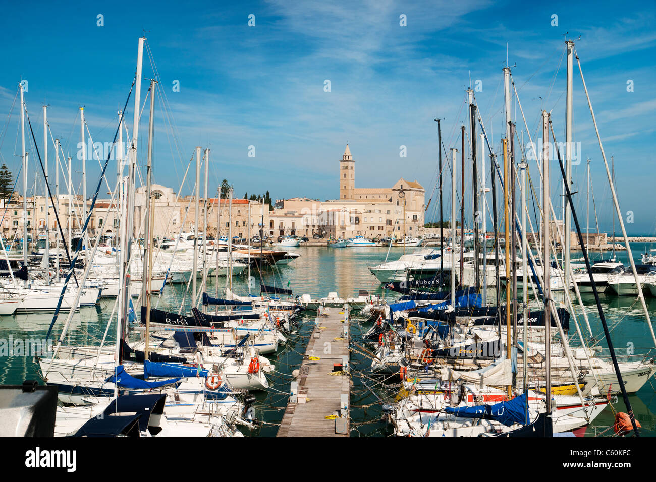 Trani habour and cathedral, Trani, Southern Italy, EU - Stock Image