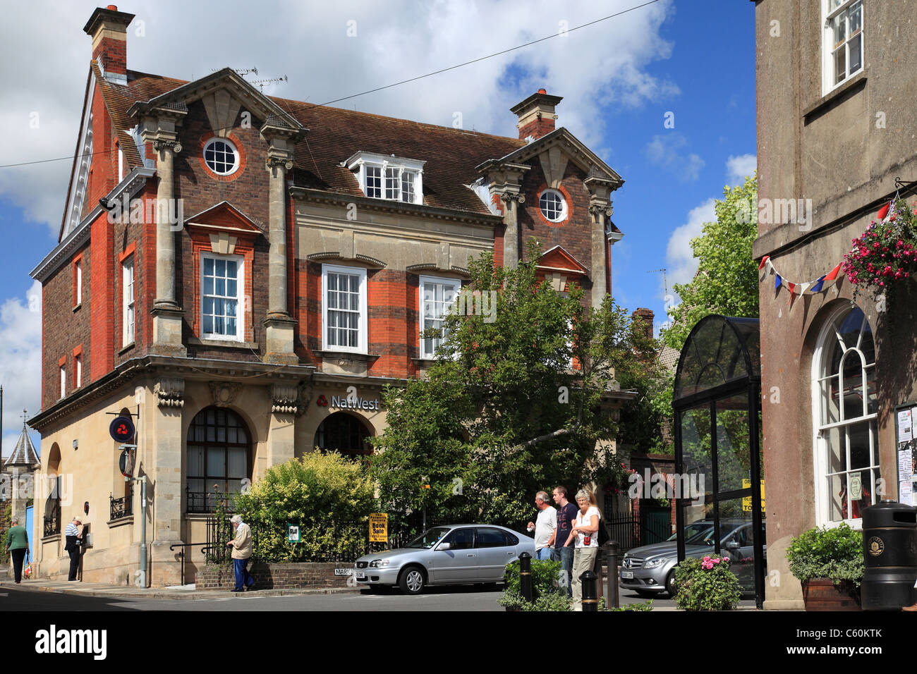 Petworth town, old bank building, Market Square, West Sussex, England - Stock Image