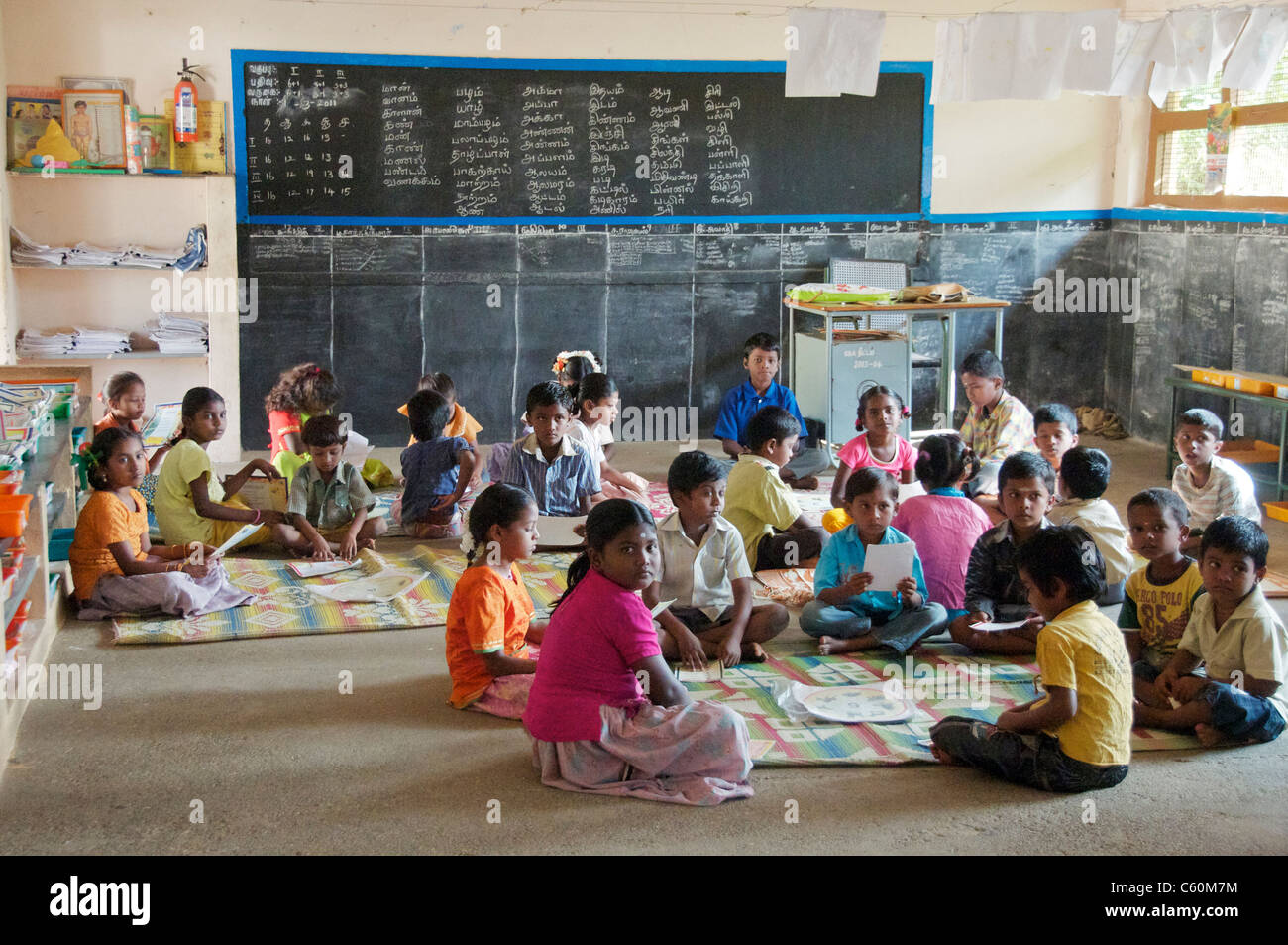 Primary school children in class Athoor Village Tamil Nadu South India - Stock Image