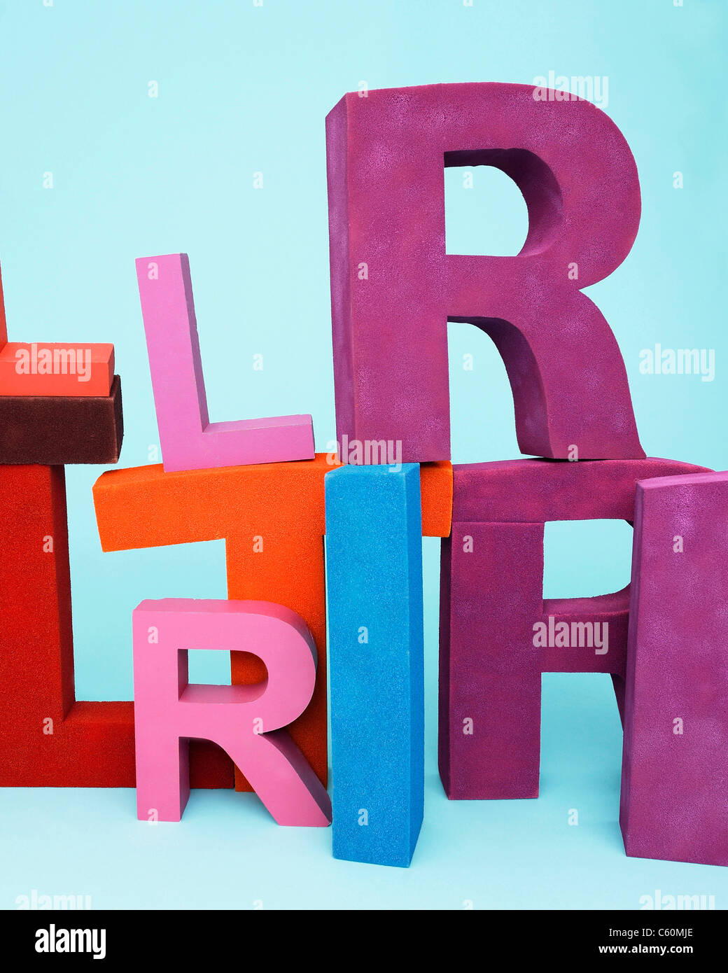 Multi-colored oversize letters - Stock Image