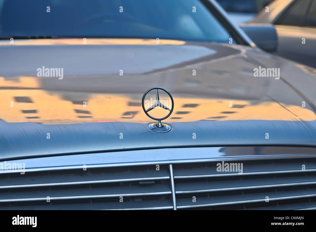 Mercedes-Benz emblem Stock Photo