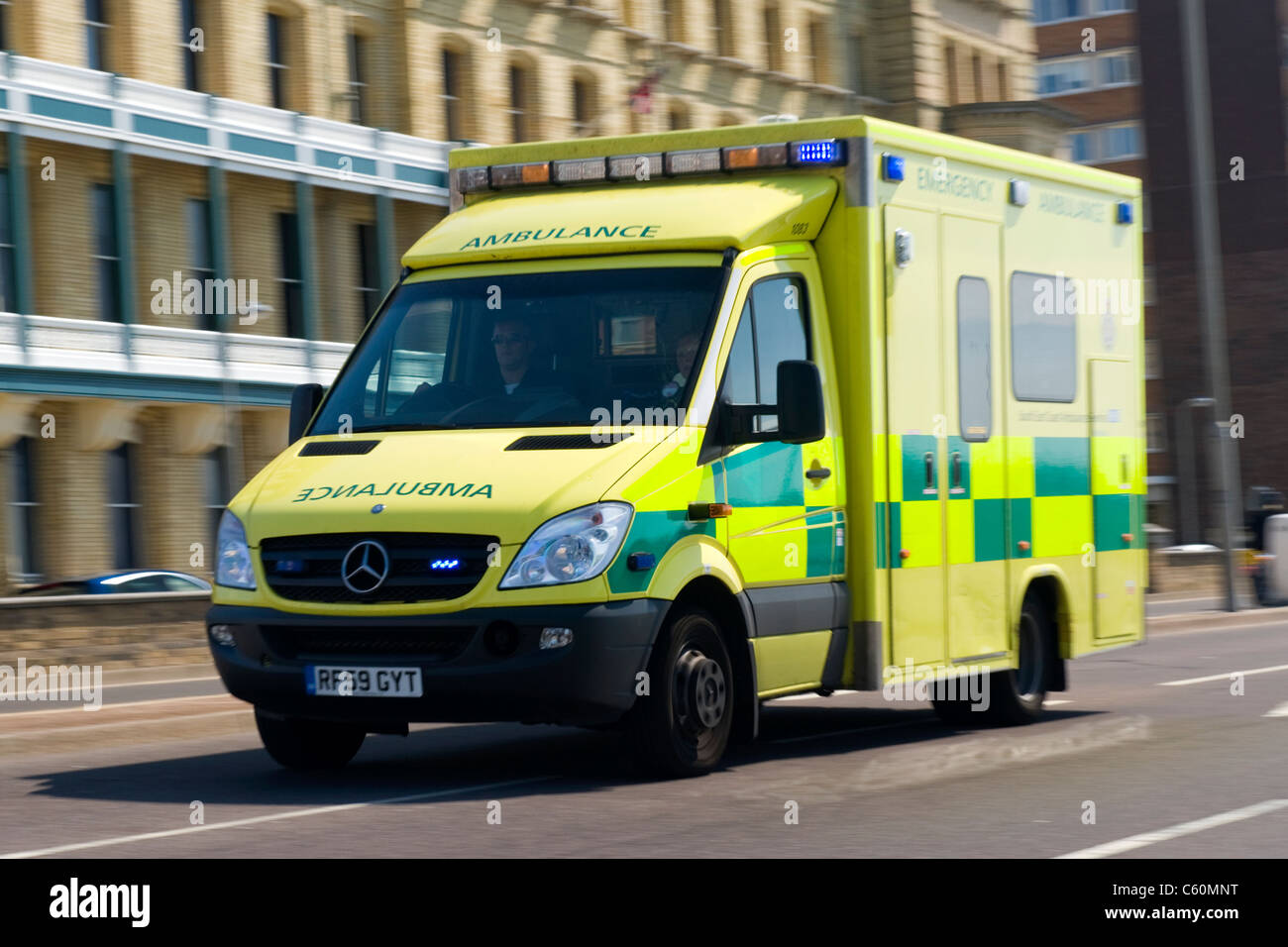 Hove actually East Sussex Mercedes Benz Sprinter 519 CDI ambulance or emergency services vehicle on call with lights - Stock Image