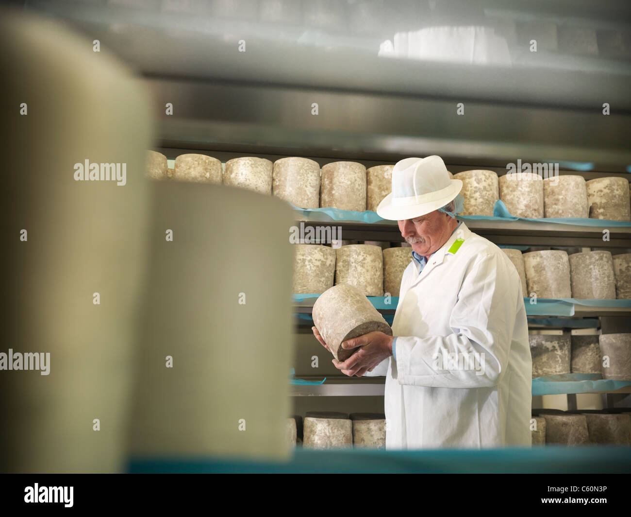 Worker checking blue cheese in factory - Stock Image