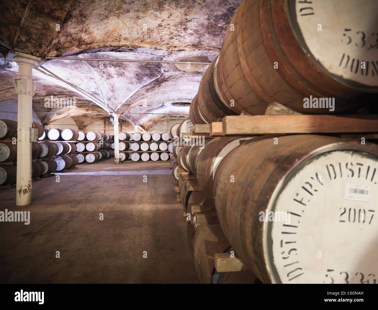 Barrels of whisky aging in distillery - Stock Image