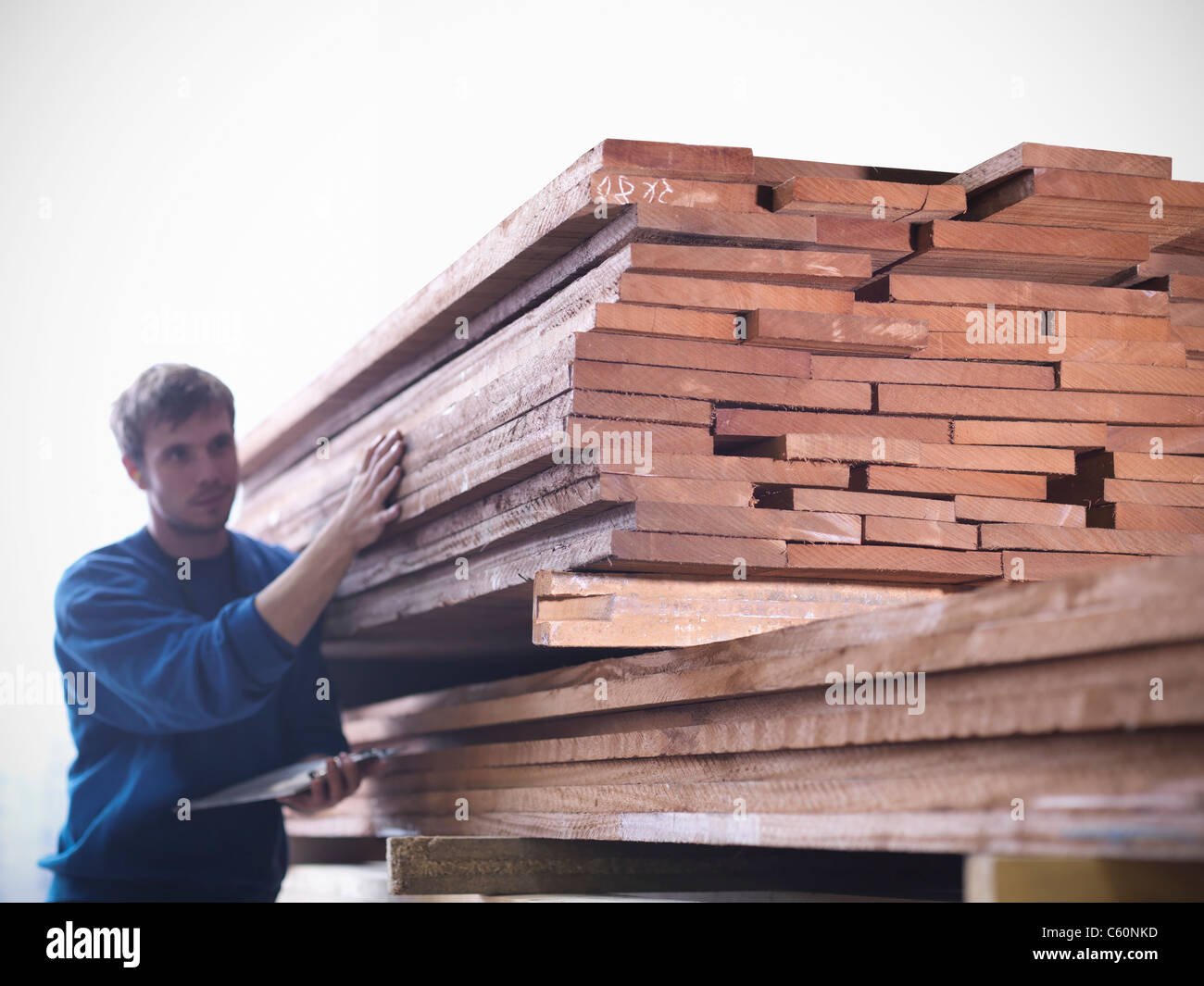 Worker examining wood in joinery - Stock Image