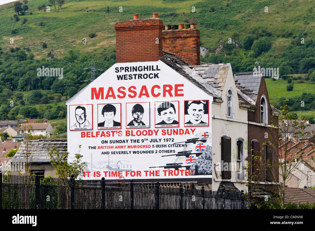 Mural in West Belfast commemorating the Springhill Westrock Massacre, 9th July 1972 - Stock Image