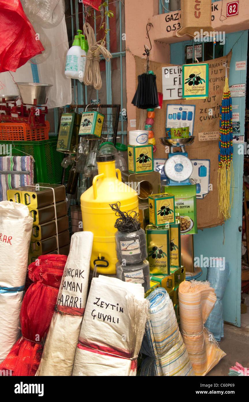 Ayavalik old town Market Bazaar Turkey Turkish insecticide pesticides extermination means - Stock Image