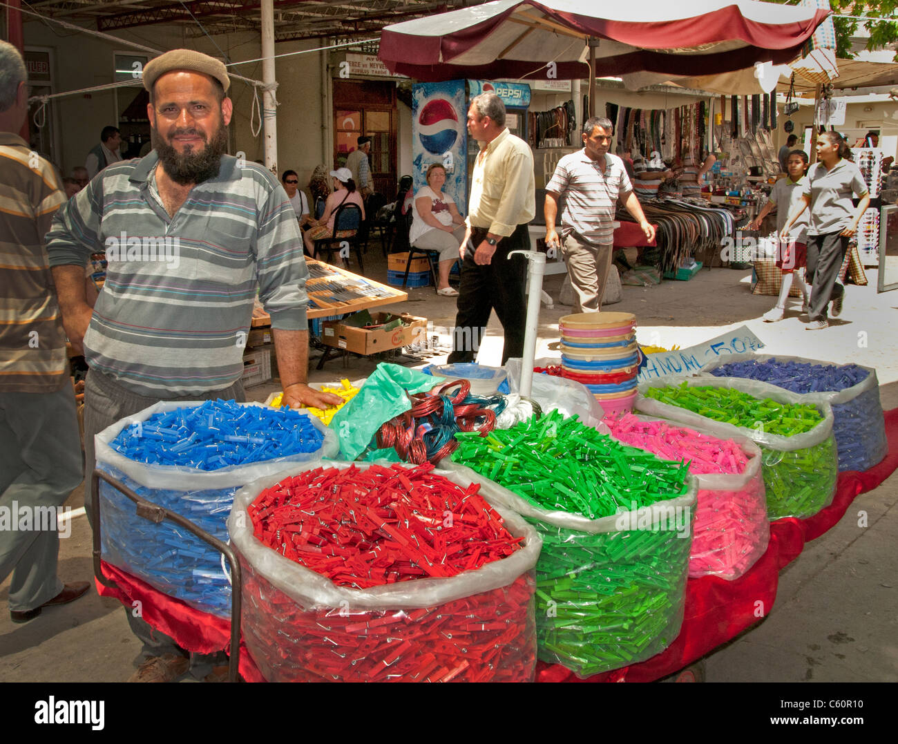 Ayavalik clip nippers Market Bazaar Turkey Turkish - Stock Image