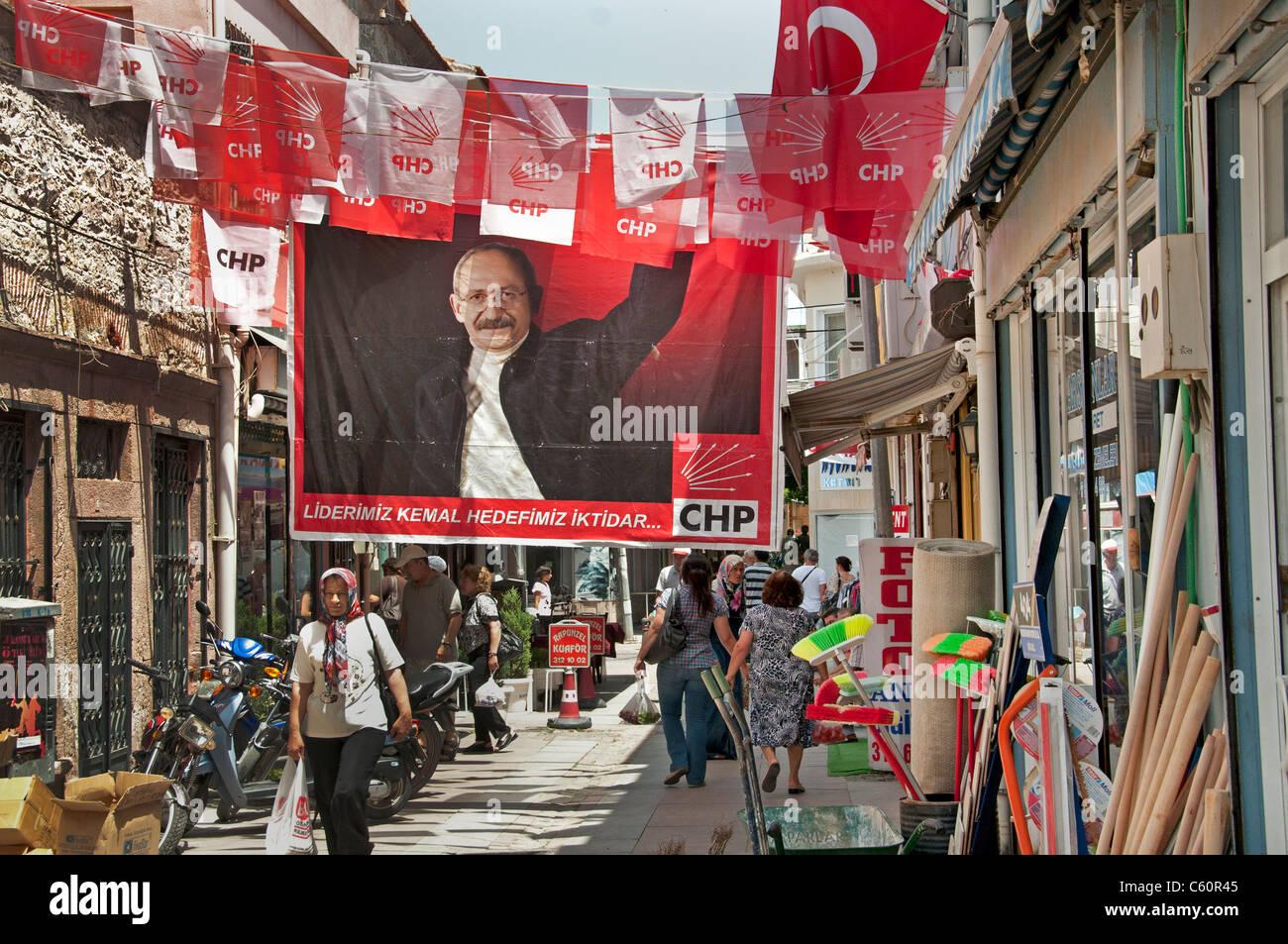 Ayavalik old town Market Bazaar Turkey polls poll Turkish - Stock Image