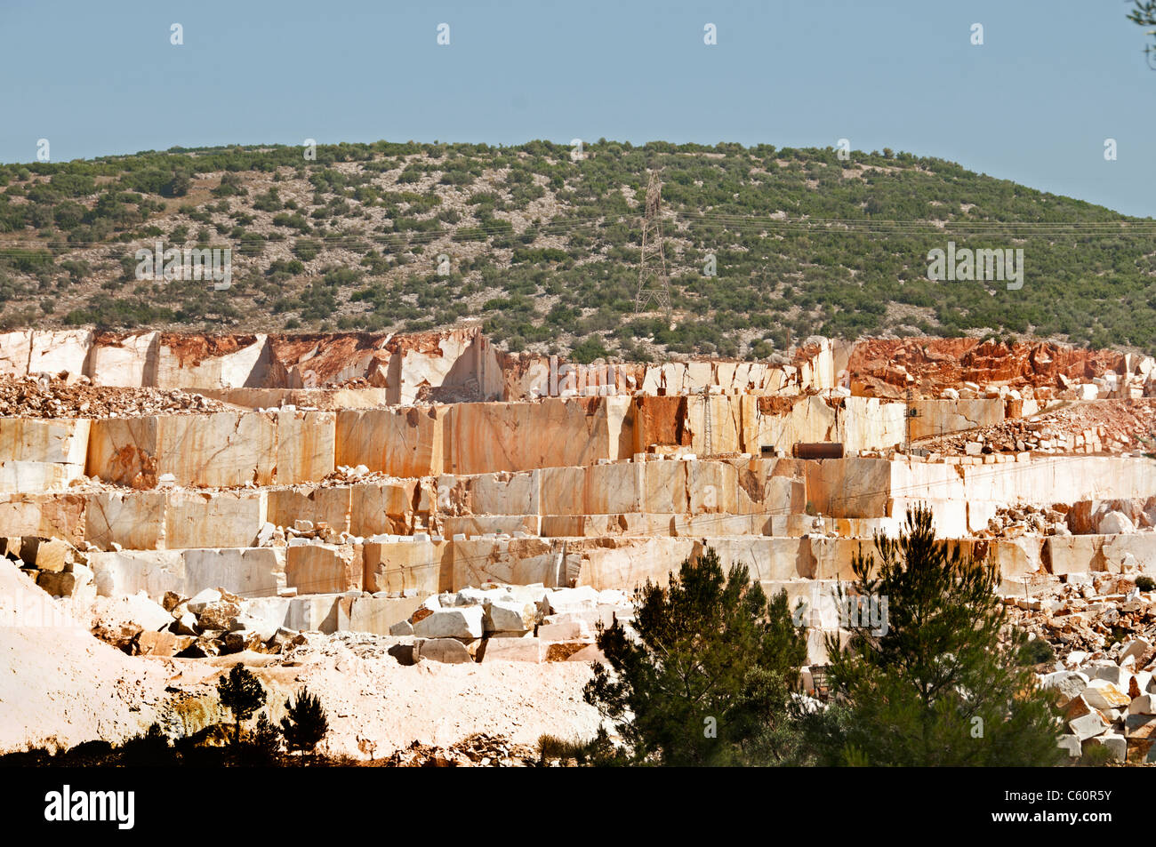Marble quarry  Marbles Mountain Turkey Turkish - Stock Image