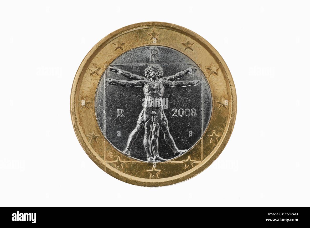 Detailansicht Der Rückseite Einer 1 Euro Münze Aus Italien Detail