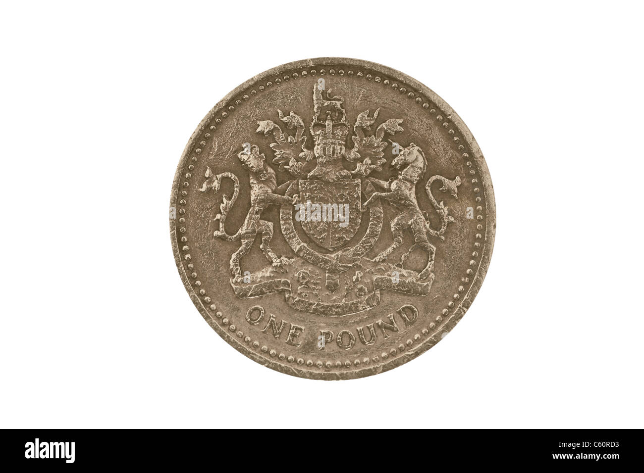 Detail photo of a 1 pound coin from Great Britain from the year 1983 Stock Photo