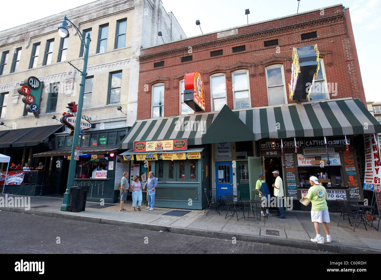 cafes and bars on beale street memphis tennessee united states america usa - Stock Image