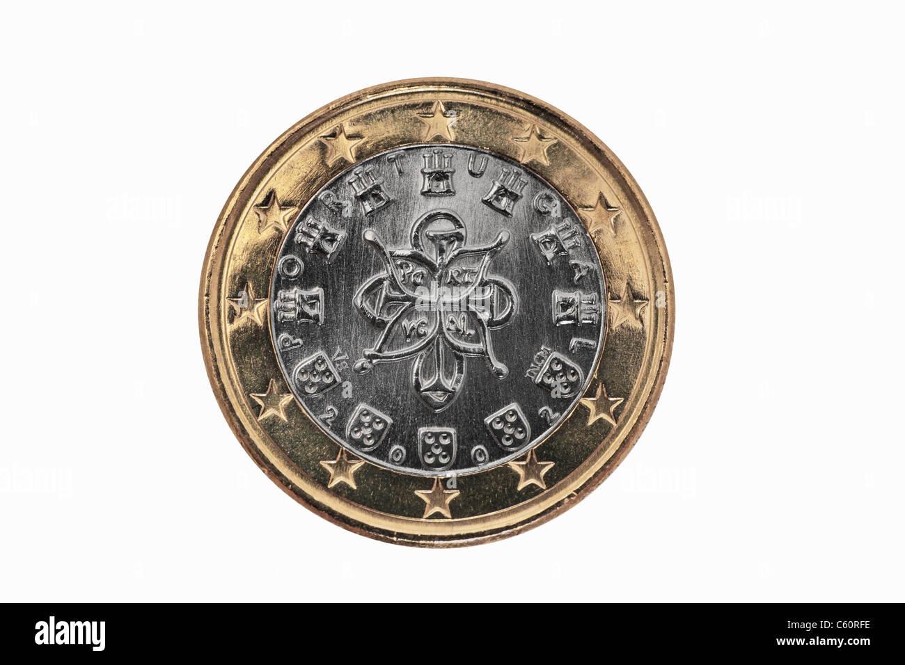 Detailansicht Der Rückseite Einer 1 Euro Münze Aus Portugal
