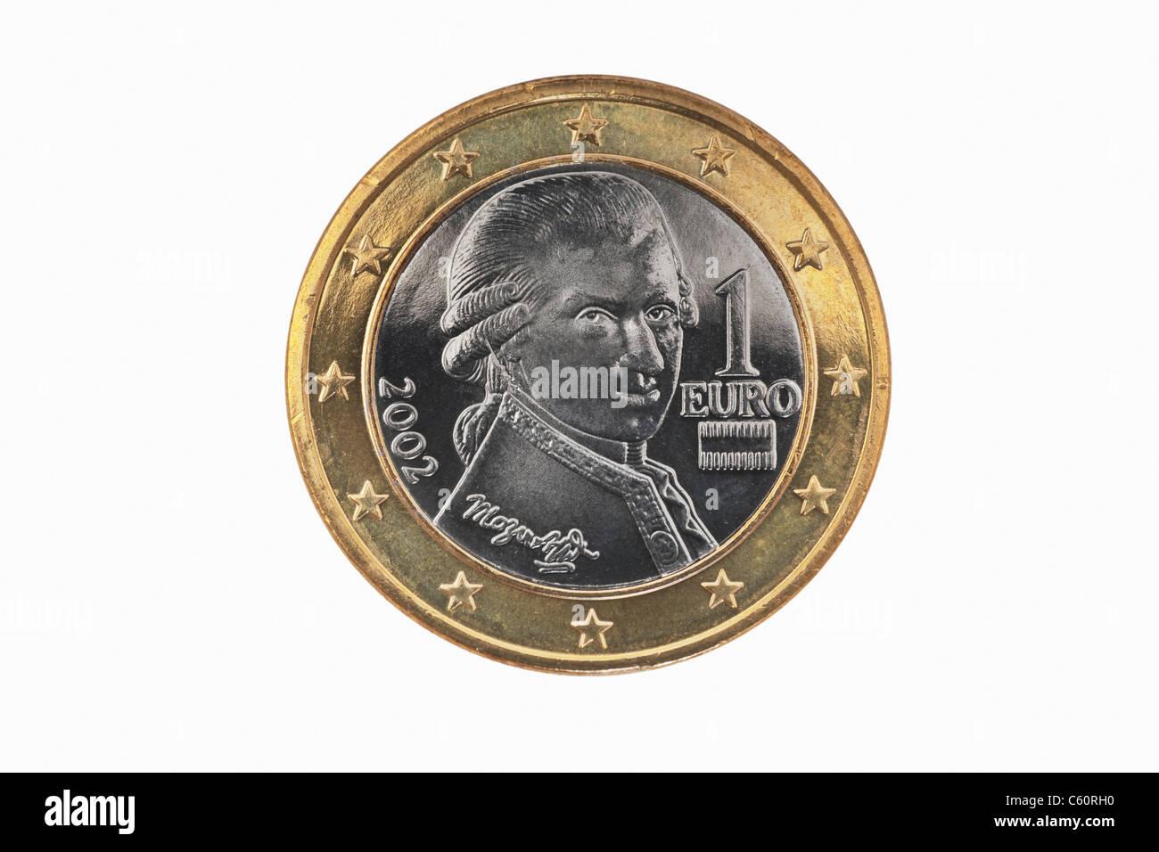 Detailansicht Der Rückseite Einer 1 Euro Münze Aus österreich