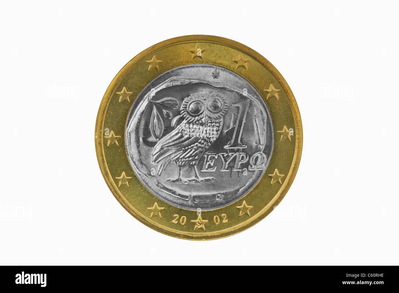 Detailansicht Der Rückseite Einer 1 Euro Münze Aus Griechenland